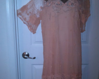 Vintage Amazing 1960's - Peach Fishnet Style Knit Dress & Slip(available)