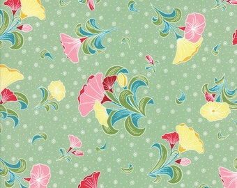 Pedal Pushers - Large Bouquet in Grass by Lauren & Jessi Jung for Moda Fabrics- Last Yard