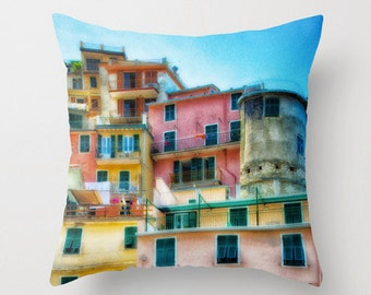 Cinque Terre, Houses, Italy, Pastel, Seashore, Decorative Throw Pillow Cover, fPOE, 16x16, 18x18, 20x20