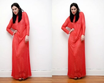 Vintage Sheer Boho Maxi Hippie Kimono Dress