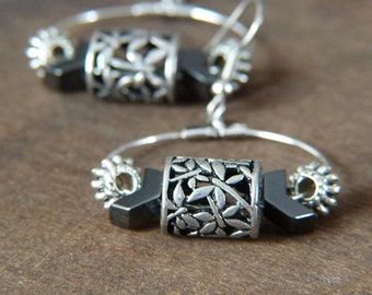 Geometric Hoop Earrings - Flowery Earrings - Metallic Dangle Earrings - Bohemian Earrings - Chevron Earrings - Large Hoop Earrings