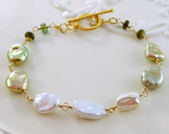 Keshi Pearl Bracelet, Tourmaline Gemstone, Mint and Olive Green, Genuine Freshwater, Wire Wrapped, Gold Vermeil Jewelry, Free Shipping