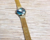Gold Mesh Seahorse and Cowry Shell  Repurposed Upcycled/Recycled Beach Watch Bracelet