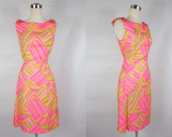 1960's Vintage Pink and Yellow Geometric Wiggle Dress