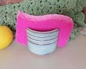 Sponge Holder Handmade Ceramic Pottery Stripes Green Glaze