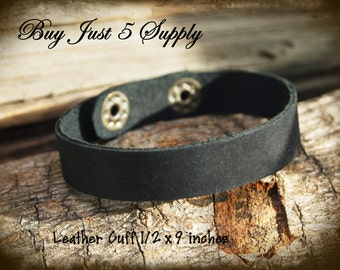 Black Leather Cuff - Super Soft - 1/2 inch Ready to Rivet, Embellish with Filigree and Metal Stamping...