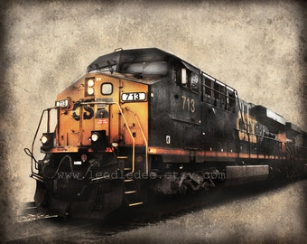 Diesel Train - Vintage Style Photograph Print - Distressed Home Decor Adventure Travel Explore Wall Art
