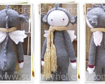 Dragon Stuffed Animal Plush, Crochet Dragon, Dragon with Wings, Dinosaur Dragon Art Doll, Dragons Doll, Flying Dragon, Dragon Plush