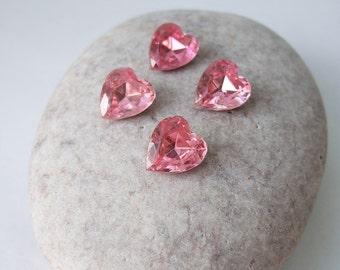 Vintage 12x11mm Glass Heart Jewels (6) - Destash