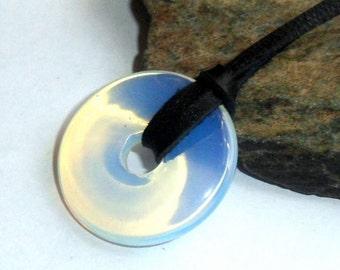 Opalite Gemstone Donut Necklace  Adjustable Leather Surfer Unisex earthegy