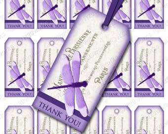 Purple Dragonfly Shabby Chic Digital Gift Tags on 8.5x11 Sheet - French Country, Violet, French, Lettering, Paris, France