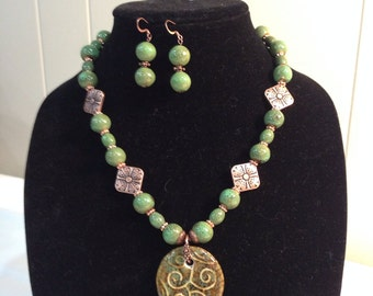 Green ceramic bead necklace and earring set