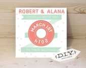 Items similar to music lovers vinyl record wedding for Etsy vinyl wedding invitations