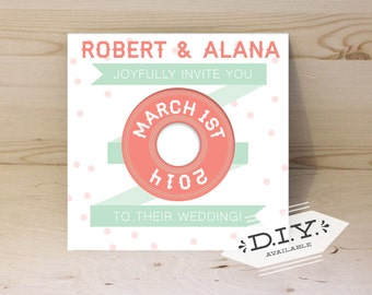 Music Lovers Vinyl Record Wedding Invitation (authentic vinyl record)