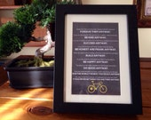 Mother Teresa Anyway Poem Print  with Chalkboard Background and Bicycle in 5 x 7 Frame Hipster Religious Gift