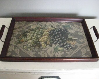 Butler's Tray with Grape & Quaker Lace Motif - Wood Framed