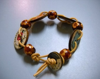 Leather and Wood Hand Woven Buttons and Beads Bracelet