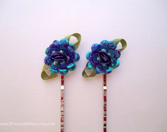 Fabric bobby pins - Iridescent blue purple sequin flowers decorative hair accessories TREASURY ITEM