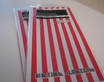 PLASTIC TABLE COVERS Decorated in a Red and White Stripe