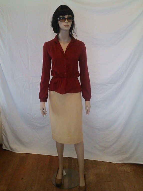 Reserved for Helen Burgundy Vintage 70's Knit Top