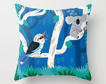 "The Koala and the Kookaburra - Children's - Dark Blue - Throw Pillow / Cushion Cover (16"" x 16"") by Oliver Lake - iOTA iLLUSTRATION"