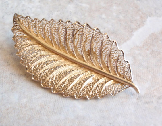 Vermeil Leaf Brooch Filigree Pin Sterling Silver Gold Plated Vintage