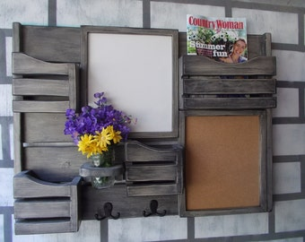 Message Center--Dry Erase Board--Cork boardboard--Kitchen Decor--Mail Organizer--Magazine Holder