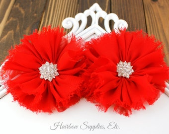Red Ballerina Chiffon Flowers with Rhinestone 3 inch - Choose from 1-24 flowers -Hairbow Supplies, Etc.