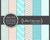 Instant Download Lillie Chevrons Digital Paper Commercial Use Kit CU for scrapbooking, card making, prints