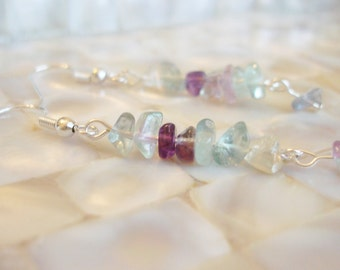 Fluorite Earrings, Purple Dangle Earrings, Fluorite Jewelry