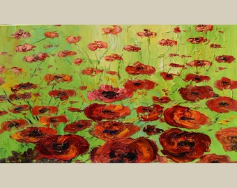 ORIGINAL Oil Painting Red Field 40 x 23 Palette Knife Colorful Textured Abstract Flowers Poppies Red Modern Contemporary  ART by Marchella