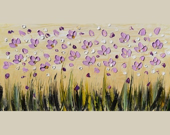 ORIGINAL Oil Painting Summer Flight 45 X 23 Palette Knife Colorful Flowers Purple Yellow Field  Modern Contemporary Sky ART by Marchella