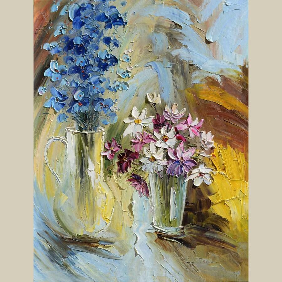 Konda Art Framed Handmade Purple Flower Oil Painting On: ORIGINAL Oil Painting Flowers Palette Knife Floral Colorful