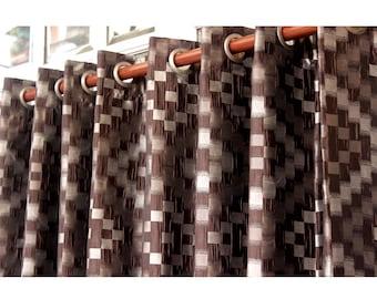 "Brown Checks Curtain Panels 52""x84"" Grommet Drapes Home Living Decor Housewares Valence Bedroom Window Treatments Shower Curtains"