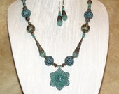 Bohemian Indie Jewelry Necklace Earrings Turquoise Patina Bronze Filigree Flower Pendant Hippie Style Boho Chic Vintage Inspired