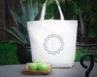 Personalized Eco Friendly Custom Monogram Navy & Pink Letter R Canvas Bag, Grocery Bag, Farmers Market Bag, Beach Bag, Large Tote Bag