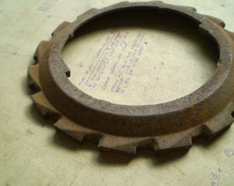 Vintage Rusty Iron Gear - Industrial Salvage - Salvaged Supplies - for Assemblage, Sculpture or Altered Art