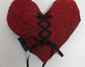 Handmade Gothic Brocade Heart Pillow