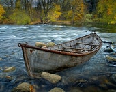 Canoe aground on the Thornapple River during Autumn in West Michigan No.00136 - A Boat Fall River Landscape Photograph