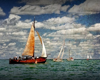 Sail Boats Sailing on the Zuiderzee Bay of the North Sea in the Netherlands No.4 - A Fine Art Seascape Boat Photograph
