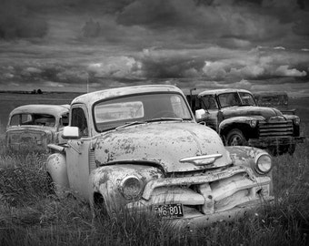 Old Vintage Forlorn Car Bodies in an Automobile Junk Yard No.BW2 A Black and White Fine Art Landscape Photograph