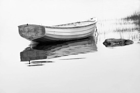 White Maine Row Boat anchored in the Morning Fog by the Mt Desert Narrows in Maine No.22BW A Fine Art Black & White Seascape Photograph