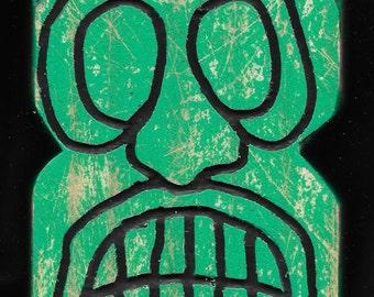 Fluorescent green tiki from tiki set no.1  (Made to Order)