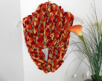 Belflower Infinity Scarf Hand Crochet  Beautiful bold colors  by kams-store.com