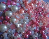Sale--- flatback pearl mix  pink and white  decoden deco diy more than 400 pcs  341---USA seller