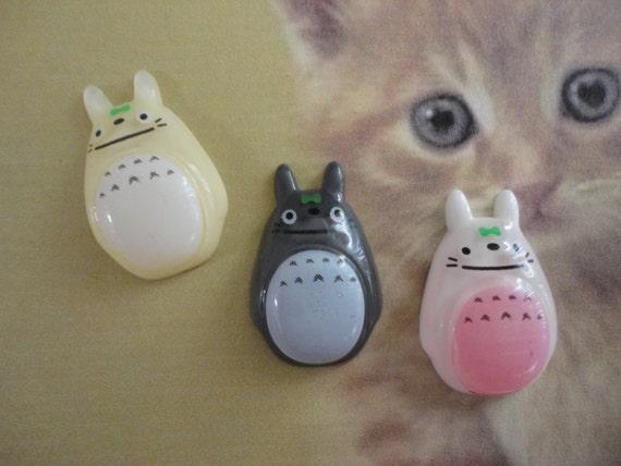 Kawaii gentle Totoro cabochon decoden DIY charm   3 pcs