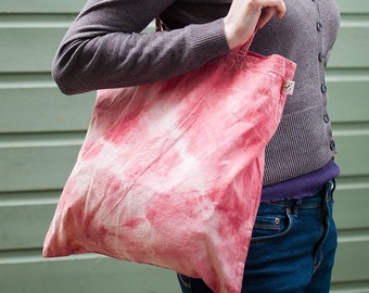 Pink Tie dye Organic cotton tote bag