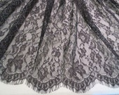 Black with Silver Chantilly Style Lace Fabric--One Yard