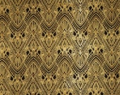 Black and Metallic Gold Ombre Beau Monde Art Deco Print Pure Cotton Fabric--One Yard