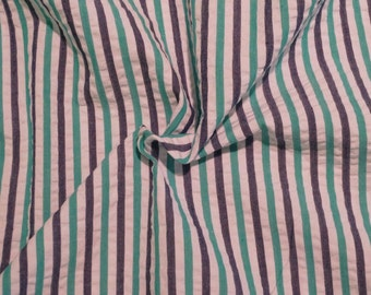 Kelly Green Navy and White Striped Pure Cotton Seersucker Fabric--One Yard